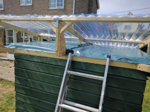 PVC roof showing vapour barrier and foam inserts