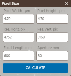 Pixel Size Calculator Form